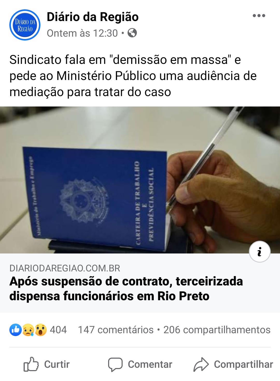 Jornal Diário da Região destaca luta sindical do SETH