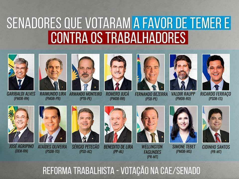 Estes parlamentares votaram contra os trabalhadores!!!