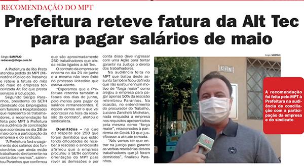 Após exigência do SETH e do MPT, Prefeitura retém nota da empresa para quitar salários